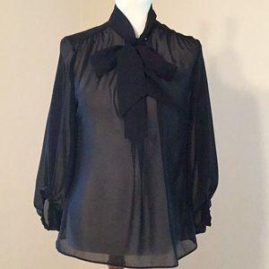 Jennifer Lopez sheer blouse, 3/4 sleeve